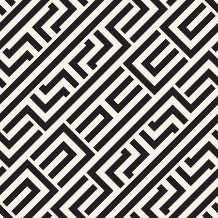 Interlacing Lines Maze Lattice. Ethnic Monochrome Texture. Vector Seamless Black and White Pattern Illustration