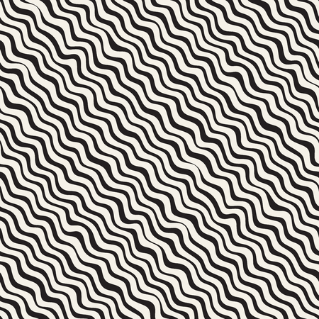 billowy: Wavy Ripple Hand Drawn Lines. Abstract Geometric Background Design. Vector Seamless Pattern. Illustration