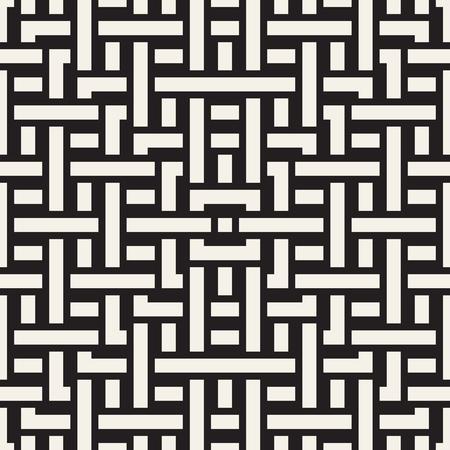 Interlacing Lines Maze Lattice. Ethnic Monochrome Texture. Vector Seamless Black and White Pattern. Illustration