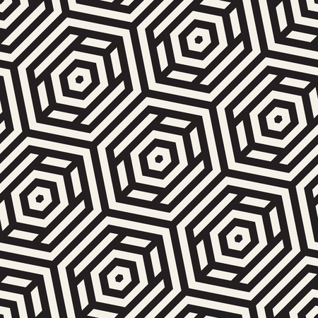 Vector Seamless Pattern. Modern Geometric Texture. Repeating Lattice Abstract Background. Linear Grid From Striped Hexagonal Elements.
