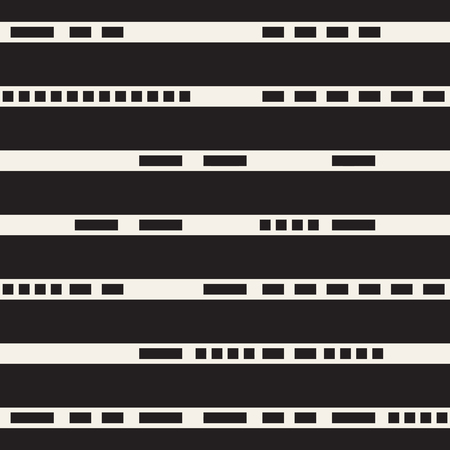 dashed: Black and White Dashed Lines Pattern. Modern Abstract Vector Seamless Background