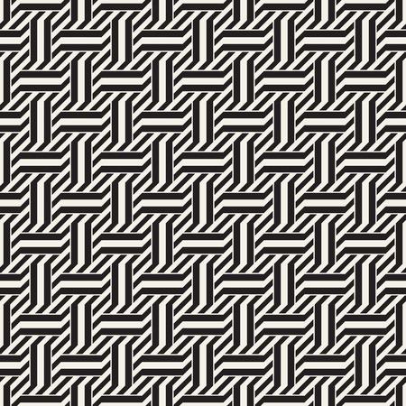 Vector Seamless Pattern. Modern Stylish Interlacing Lines Texture. Geometric Striped Ornament. Illustration
