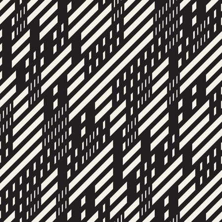 dashed: Black and White Irregular Dashed Lines Pattern. Abstract Vector Seamless Background