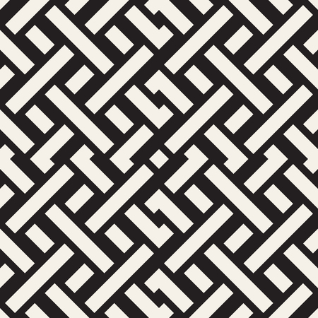 intertwine: Interlacing Lines Maze Lattice. Ethnic Monochrome Texture. Abstract Geometric Background Design. Vector Seamless Black and White Pattern.