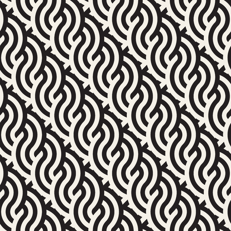 interlace: Seamless monochrome geometric pattern. Abstract stripy geometric background. Stylish vector rounded lines print