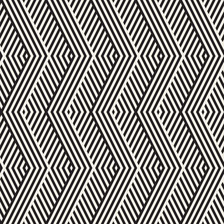 diagonal stripes: Abstract ZigZag Parallel Stripes. Stylish Ethnic Ornament. Vector Seamless Pattern. Repeating Monochrome Background Illustration
