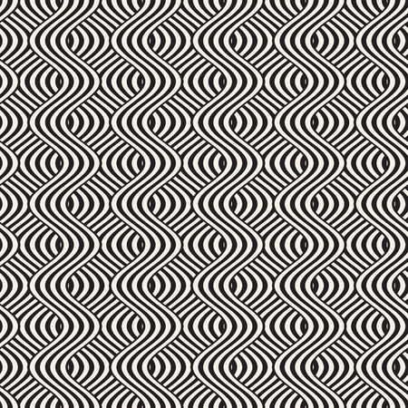 interlace: Abstract geometric pattern with wavy lines. Interlacing rounded stripes stylish design. Seamless vector background.