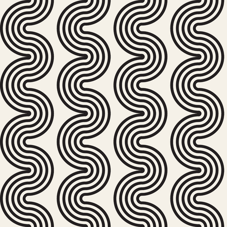 Seamless wavy lines pattern. Repeating vector texture. Stylish stripes background. Contemporary graphics with parallel waves. Illustration