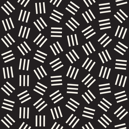 Geometric Scattered Shapes. Monochrome Funky Texture. Vector Seamless Black and White Irregular Pattern Illustration