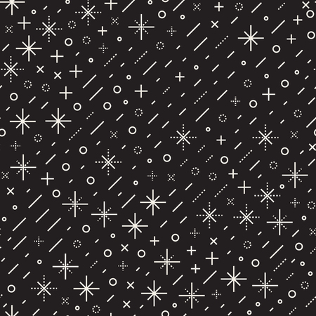 Geometric line shapes seamless patterns abstract jumbled textures with black and white scattered shapes