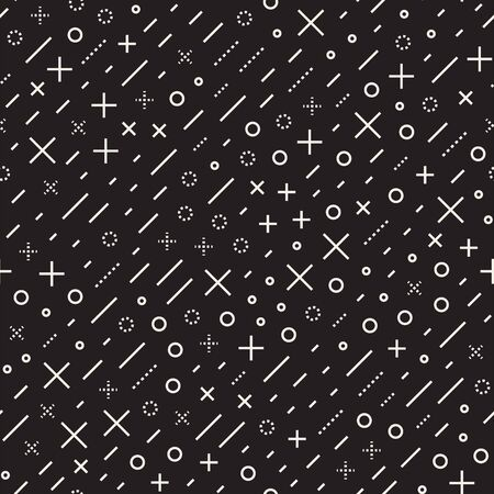 Retro geometric line shapes seamless patterns. Abstract jumble textures. Black and white scattered shapes