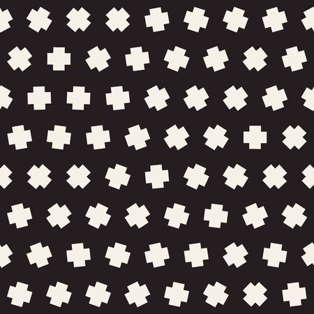 Geometric Scattered Shapes. Vector Seamless Black and White Pattern Иллюстрация