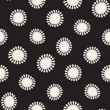 Vector seamless freehand pattern. Abstract background with floral brush strokes. Monochrome hand drawn texture