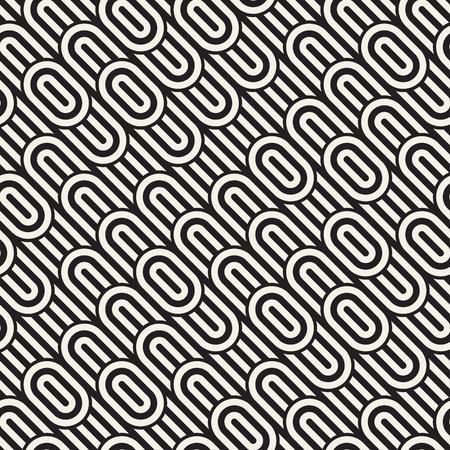 interlace: Seamless monochrome waving pattern. Abstract retro stripy background. Vector irregular round stripes design.