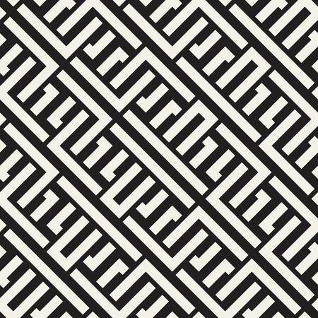 celtic background: Interlacing Lines Maze Lattice. Ethnic Monochrome Texture. Abstract Geometric Background Design. Vector Seamless Black and White Pattern.