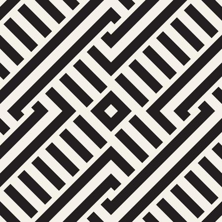 interlace: Interlacing Lines Maze Lattice. Ethnic Monochrome Texture. Abstract Geometric Background Design. Vector Seamless Black and White Pattern.