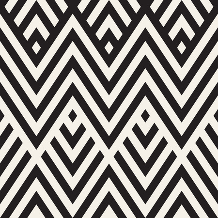 Abstract ZigZag Parallel Stripes. Stylish Ethnic Ornament. Vector Seamless Pattern. Repeating Monochrome Background Illustration