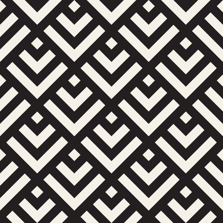 Stylish Lines Maze Lattice. Ethnic Monochrome Texture. Abstract Geometric Background Design. Vector Seamless Black and White Pattern. Illustration