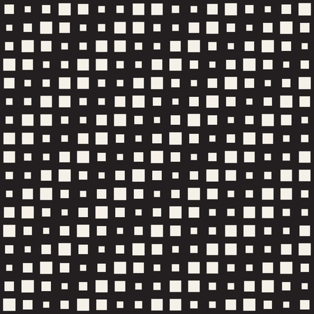 Repeating Rectangle Shape Halftone. Modern Geometric Lattice Texture. Vector Seamless Monochrome Pattern