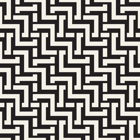 celtic: Interlacing Lines Maze Lattice. Ethnic Monochrome Texture. Abstract Geometric Background Design. Vector Seamless Black and White Pattern.