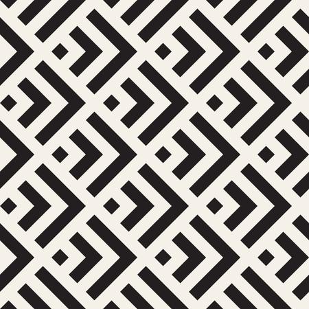 Stylish Lines Maze Lattice. Ethnic Monochrome Texture. Abstract Geometric Background Design.