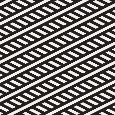 diagonal: Interlacing Parallel Stripes. Vector Seamless Monochrome Pattern. Abstract Geometric . Illustration