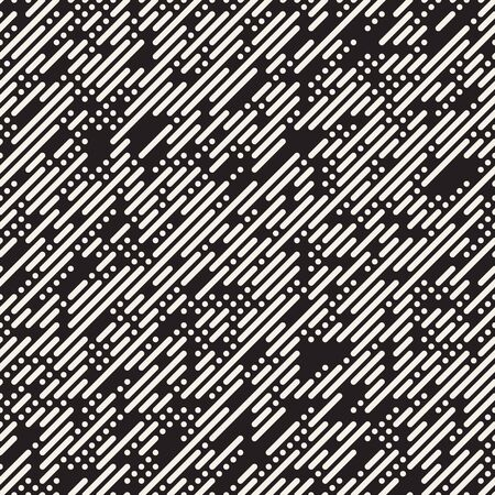 diagonal: Vector Seamless Black And White Irregular Lines Grid Pattern. Trendy Monochrome Texture. Abstract Geometric Background Design Illustration