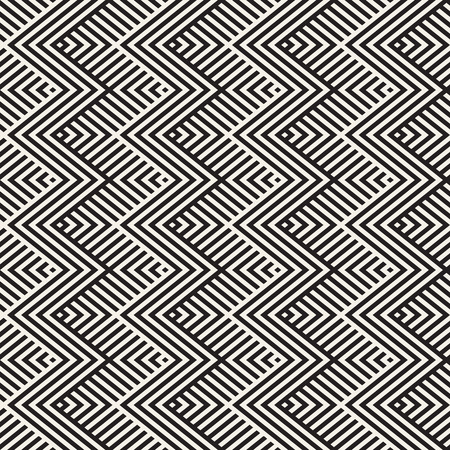 diagonal: Abstract ZigZag Parallel Stripes. Stylish Ethnic Ornament. Vector Seamless Pattern. Repeating Monochrome Background Illustration