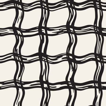 Hand drawn seamless plaid pattern. Allover pattern with ink doodle grunge grid.