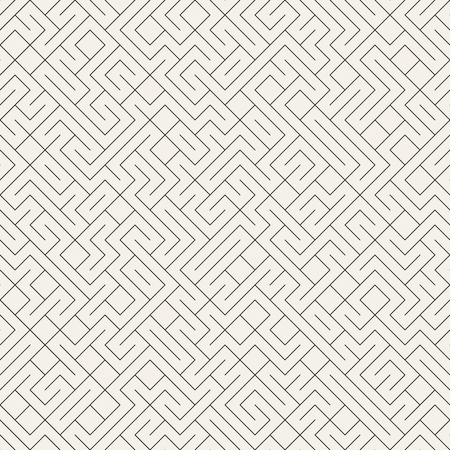 Vector Seamless Black And White Irregular Lines Grid Pattern. Trendy Monochrome Texture. Abstract Geometric Background Design Illustration