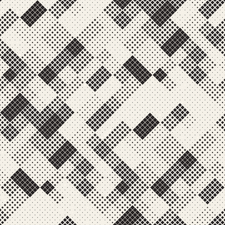 Modern Stylish Halftone Texture. Endless Abstract Background With Random Size Squares. Vector Seamless Chaotic Squares Mosaic Pattern.