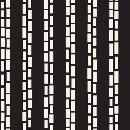 parallel: Black and White Irregular Dashed Lines Pattern. Modern Abstract Vector Seamless Background. Stylish Chaotic Rectangle Stripes Mosaic