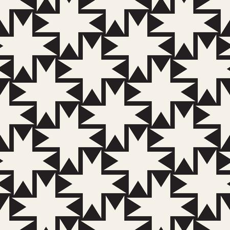 regular: Seamless black and white cross shape lattice pattern. Abstract geometric tiling mosaic. Stylish background design