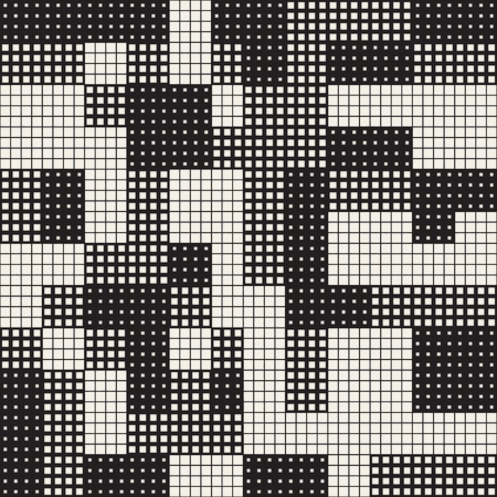 chaotic: Modern Stylish Halftone Texture. Endless Abstract Background With Random Size Squares. Vector Seamless Chaotic Squares Mosaic Pattern.