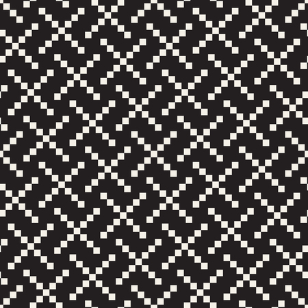Seamless black and white cross shape lattice pattern. Abstract geometric tiling mosaic. Stylish background design