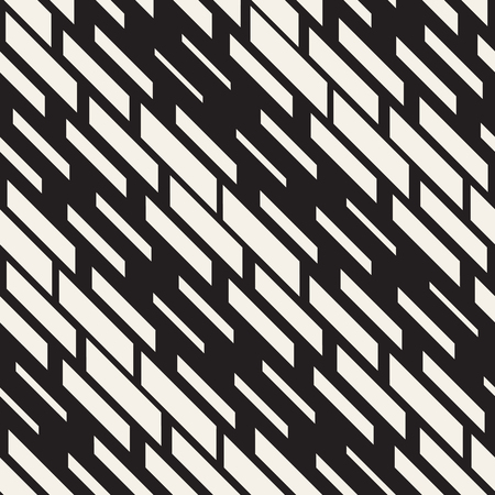 chaotic: Black and White Irregular Dashed Lines Pattern. Modern Abstract Vector Seamless Background. Stylish Chaotic Rectangle Stripes Mosaic