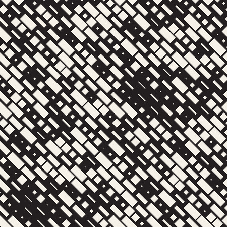 grid: Vector Seamless Black And White Irregular Dash Rectangles Grid Pattern.