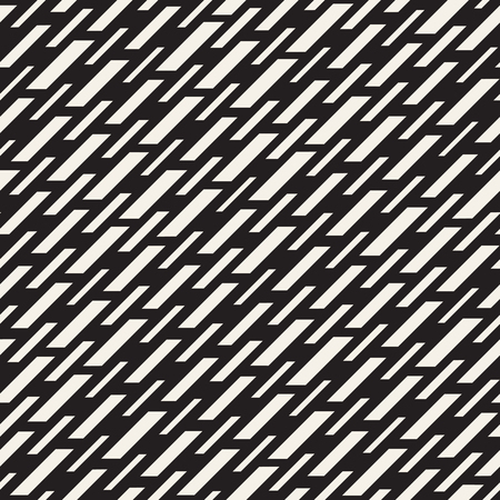 Black and White Irregular Dashed Lines Pattern. Modern Abstract Vector Seamless Background. Stylish Chaotic Rectangle Stripes Mosaic