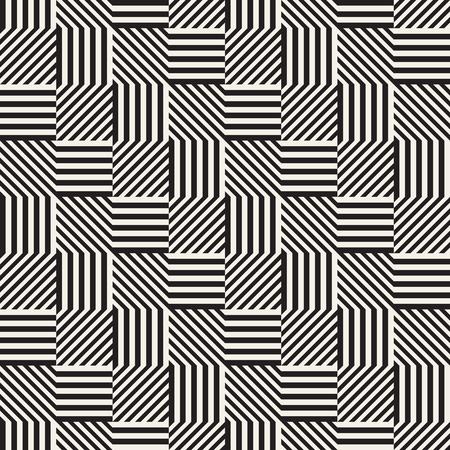 ストライプ、ラインと抽象的な幾何学模様。シームレスなベクトルのスタイリッシュな背景。黒と白の格子のテクスチャです。