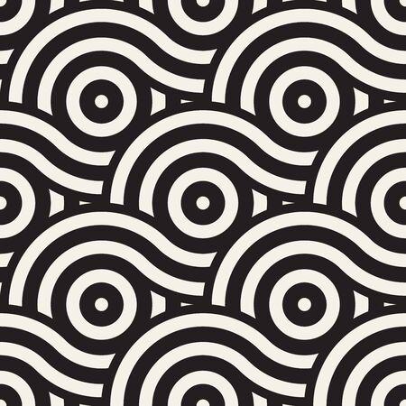 シームレスな幾何学的パターンのベクトルは円と線で構成されています。モダンなスタイリッシュな丸みを帯びた縞模様のテクスチャです。抽象的