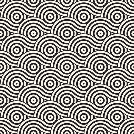 grid background: Vector seamless geometric pattern composed with circles and lines. Modern stylish rounded stripes texture. Repeating abstract decorative background