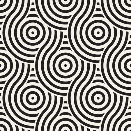 Vector naadloos geometrisch patroon dat met cirkels en lijnen wordt samengesteld. Moderne stijlvolle afgeronde strepen textuur. Herhalende abstracte decoratieve achtergrond