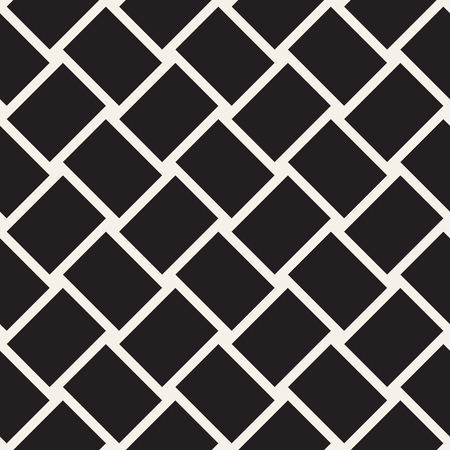 Crosshatch vector seamless geometric pattern. Crossed graphic rectangles background. Checkered motif. Seamless black and white texture of crosshatched bold lines. Trellis simple fabric print. Illustration