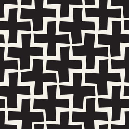 Vector Naadloze Zwart-witte Lijnen Patroon Abstracte Achtergrond. Kruisvormen Geometrische Tegel Stijlvol Ornament.
