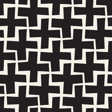 Vector Seamless Black And White Lines Pattern Abstract Background. Cross Shapes Geometric Tiling Stylish Ornament.