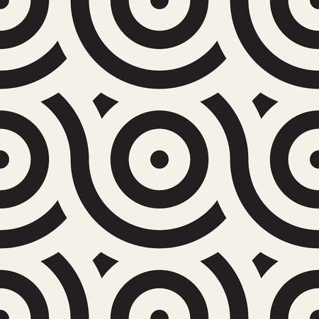 Vector seamless geometric pattern composed with circles and lines. Modern stylish rounded stripes texture. Repeating abstract decorative background
