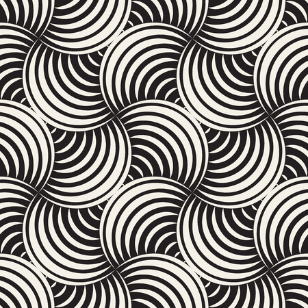 Vector Seamless Rounded Lines Pattern. Abstract Geometric Background Design. Circular Geometric Tiling Stylish Lattice