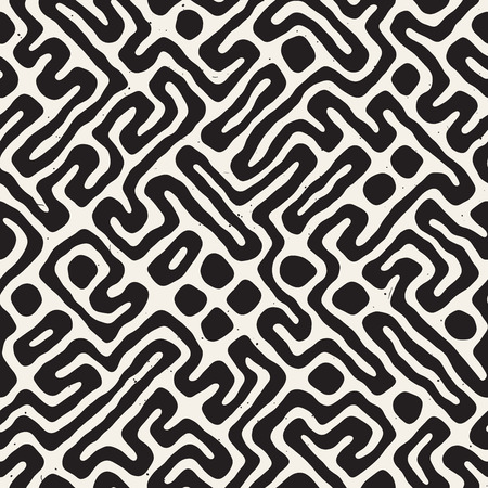 A Seamless pattern with maze lines. Monochrome abstract grungy background. Vector hand drawn labyrinth. Illustration