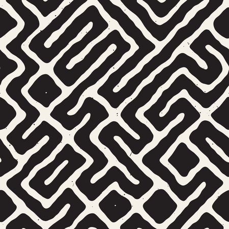 Monochrome abstract hand-drawn labyrinth.