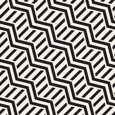 Vector seamless zigzag line pattern. Abstract stylish geometric background. Repeating monochrome lattice background
